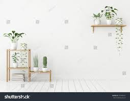 white wall mock nordic style green stock illustration 597946637