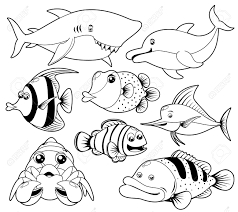 ocean animals clipart black and white clipartxtras