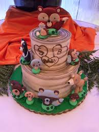 woodland forest friends birch fox theme baby shower tier cake from