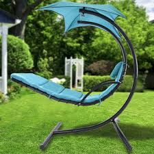 Outdoor Hanging Lounge Chair Hanging Chaise Lounger Chair Mattress Arc Frame Stand Air
