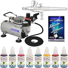 airbrush face paint u0026 body art system 8 color kit air compressor