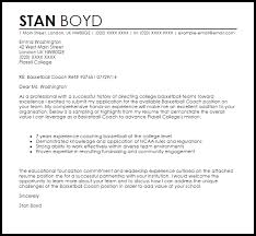 Basketball Coach Resume Example by Basketball Coach Cover Letter Sample Livecareer