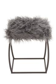 uma gray faux fur u0026 metal stool nordstrom rack