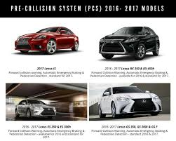 lexus is models 2016 and 2017 lexus models with pre collision system standard