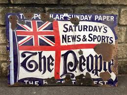 an early newspaper enamel sign the people depicting a flag with lot 34 an early newspaper enamel sign the people depicting a flag with union
