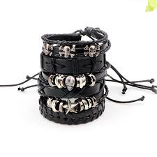 leather bracelet with skull charm images 6pcs set leather bracelet men multilayer punk wrap bracelets jpg