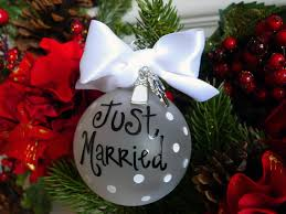 married ornament happy holidays