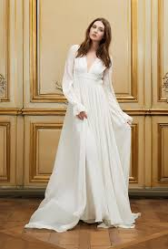 wedding dresses with sleeves uk fashionable v neck ivory chiffon floor length wedding dress