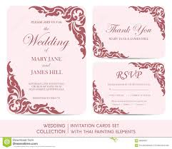 Wedding Invite Cards Wedding Invitation Cards Set With Thai Painting Stock Vector