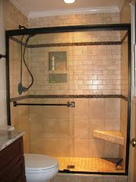 black vertical subway tile corner shower design with clear glass creative glass block bulkhead with lovely ocean blue tile designs for shower room wall