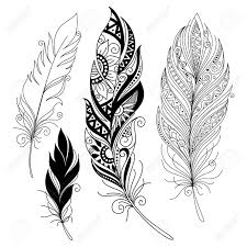 vector peerless decorative feather tribal design tattoo royalty