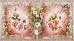 vintage flower art wallpaper and background image 1600x900 id