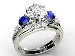 blue wedding rings custom made blue sapphire and diamond engagement ring and wedding