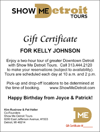 hotel gift certificates show me detroit tours
