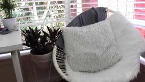 White Fluffy Chair Home Accessory Chair Egg Chair White Fluffy Pillow Plants