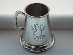 engraved teddy bears child s christening mug pewter tankard engraved teddy