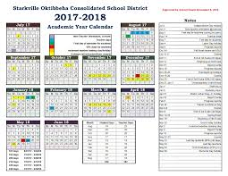 2017 2018 school calendar starkville school district