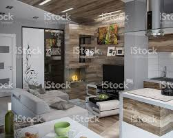 wohnzimmer offen gestaltet offen gestaltete küche und wohnzimmer 3d render stockfoto