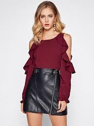 open shoulder blouse open shoulder frill trim blouse emmacloth fast fashion