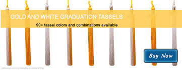 graduation tassles tassels in gold and white