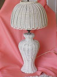 Wicker Table Lamp Vintage Cottage White Wicker Table Lamp With By Buttercupgarden
