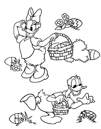 cute easter colouring picture showing daisy duck donald duck