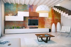 colorful exposed brick wall modular storage interior design ideas
