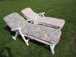 Cushions For Reclining Garden Chairs Pair Of White Plastic Reclining Garden Sun Lounger Chairs With