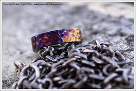 titanium colored rings images Textured and heat colored titanium ring jpg