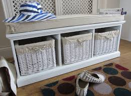 solid wood white tetbury bench hallway shoe storage seat wicker