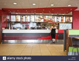 kfc fast food restaurant counter london england uk stock photo