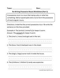 singular possessive nouns worksheets other pinterest