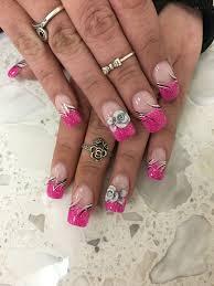 pink nails 3d flowers nail design nail art anc black white glitter