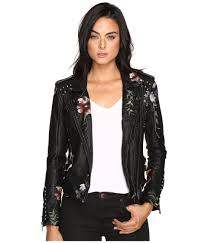 jacket moto blank nyc embroidered floral detail studded moto jacket in as you