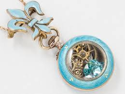 white gold turquoise necklace images Vintage rose gold pocket watch case necklace turquoise enamel and jpg