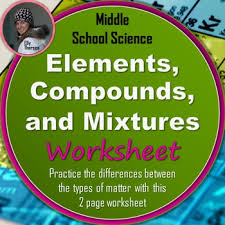 elements compounds and mixtures worksheet by elly thorsen tpt