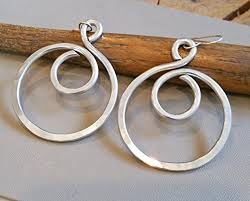aluminum earrings big swirl hoop aluminum earrings light weight statement jewelry
