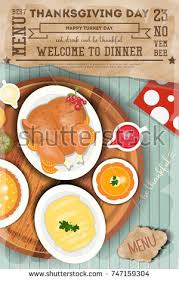 thanksgiving dinner menu card roast turkey stock vector 747159271