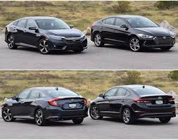 honda civic 2016 2016 honda civic and hyundai elantra photos head to head