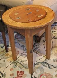Wood Round End Table Round End Table With Fly Fish Design Lake And Mountain Home