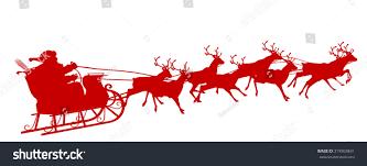 santa claus reindeer sleigh red silhouette stock vector 319903841