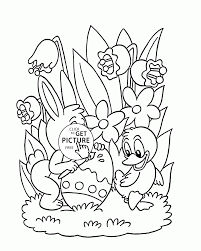 little bunny and duck painting easter egg coloring page for kids