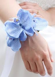 blue orchid corsage blue orchid wrist corsage silk wedding flowers afloral