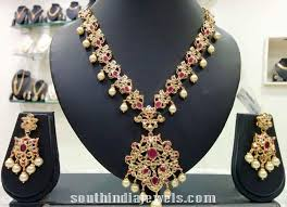 necklace designs with stones images Imitation cz stone necklace design south india jewels jpg