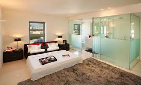 Bedroom And Bathroom  In  Suites  Clever Combos Or Risky Designs - Glass bathroom designs
