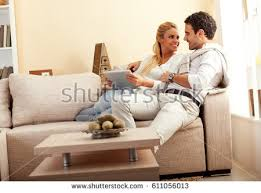 Young Couple Room Young Couple Sitting They Living Room Stock Photo 417620608