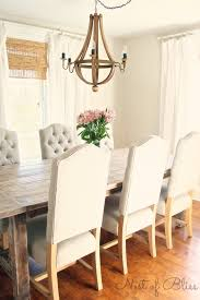 Upholstered Chairs Dining Room Rustic Dining Table With Tufted Wicker Emporium Dining Chairs
