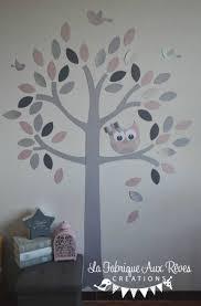 arbre déco chambre bébé stickers arbre poudré argent gris foncé gris clair hibou