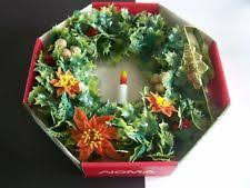 lighted christmas wreaths for windows vintage noma lighted christmas wreath electric window candle flame