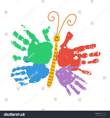 handprint butterfly smiling colorful kids palm stock vector